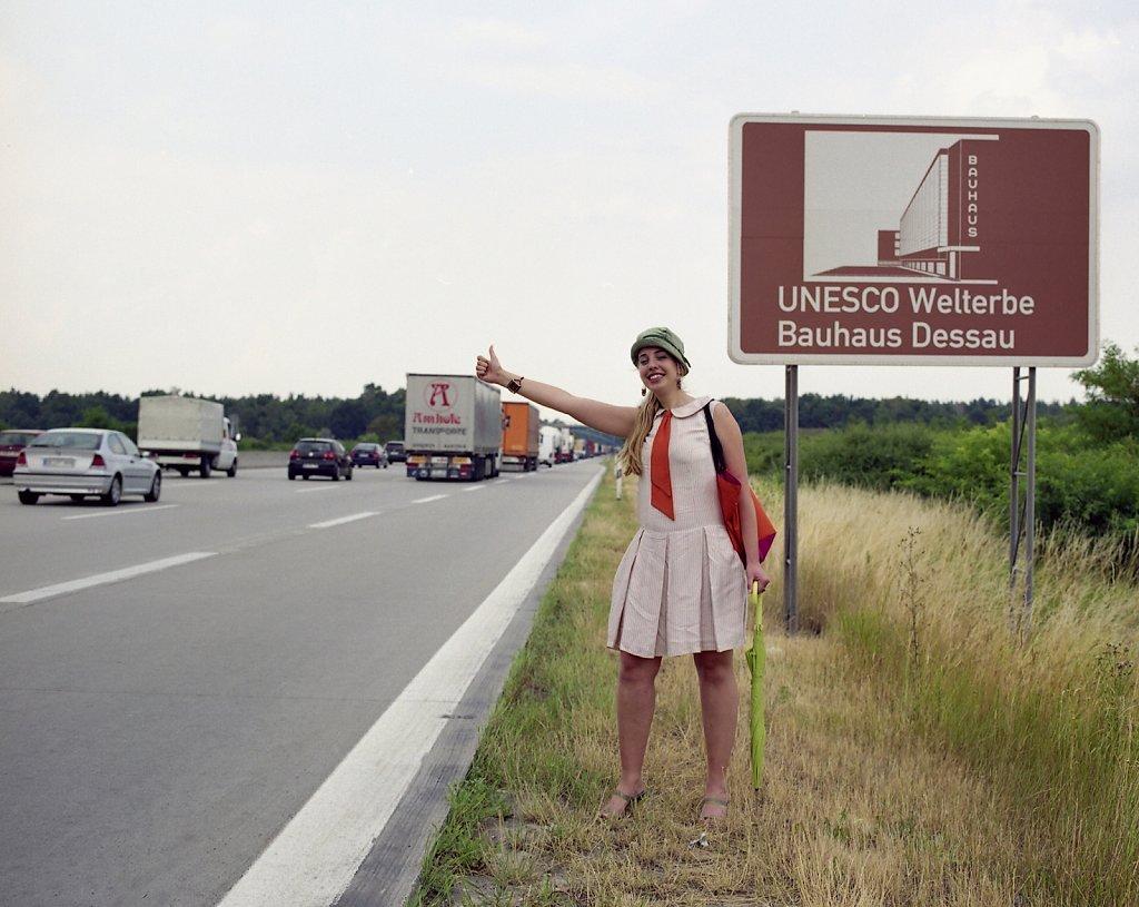 Romana, Bauhaus student and architect, Bauhaus sign A9 direction Berlin, 07/06
