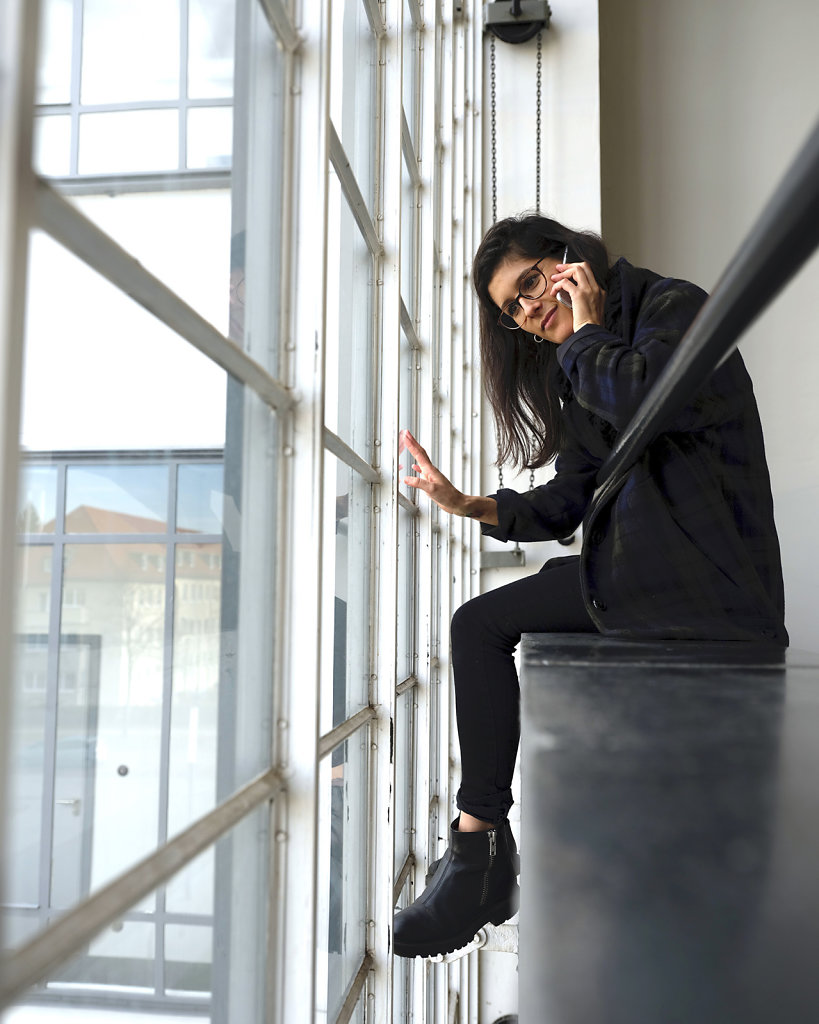 Lucia, Bauhaus Design student, staircase, Bauhaus Dessau, 12/18