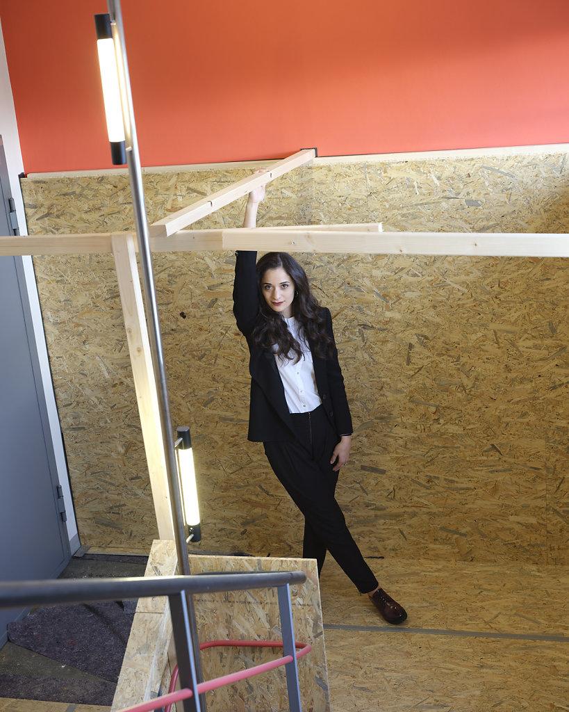Mariane, Bauhaus Design student, staircase, Bauhaus Dessau, 12/18